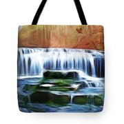 Falls Panorama-features In Groups Rivers Streams And Waterfalls-visions Of The Night Tote Bag