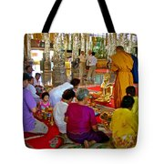 Families Awaiting Teaching From A Monk At Wat Tha Sung Temple In Uthaithani-thailand Tote Bag