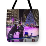 Family At Detroit Ice Rink   Tote Bag