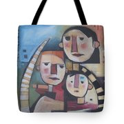 Family In Garden With Cat Tote Bag