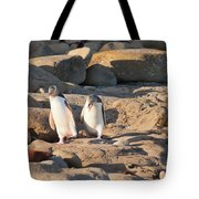 Family Of Nz Yellow-eyed Penguin Or Hoiho On Shore Tote Bag