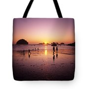 Family On Beach Face Rock Bandon Tote Bag