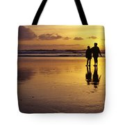 Family On Beach With Dog Sunset Tote Bag