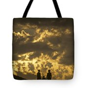 Family On Hillside Holding Hands And Facing Life Together. Tote Bag
