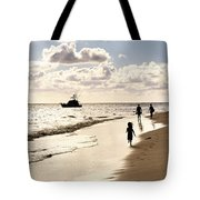 Family On Sunset Beach Tote Bag