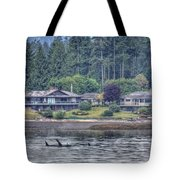 Family Outing - Orcas Tote Bag by Randy Hall