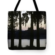 Family Silhouetted By Lake Tote Bag