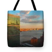 United Nations Secretariat With Chrysler Building Reflection Tote Bag