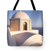 Famous Orthodox Church In Santorini Greece Tote Bag by Matteo Colombo