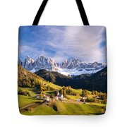 Famous View St Magdalena With Odle Mountains In The Dolomites Italy Tote Bag