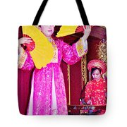 Fan Dancer And Monochord Player In Court Music Show At Citadel Of Nguyen Dynasty In Hue-vietnam Tote Bag