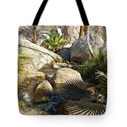 Fan Palm Leaves And Shadows Over Andreas Creek Rocks In Indian Canyons-ca Tote Bag