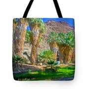 Fan Palms By The Creek In Lower Palm Canyon In Indian Canyons Near Palm Springs-california Tote Bag