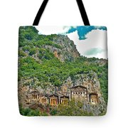 Fancy Tomb Carvings At The Top In Daylan-turkey Tote Bag