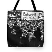 Fans In The Bleachers During A Baseball Game At Yankee Stadium Tote Bag by Underwood Archives
