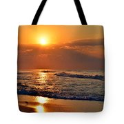 Fantastic Sunrise Colors Clouds Rays And Waves On Navarre Beach Tote Bag
