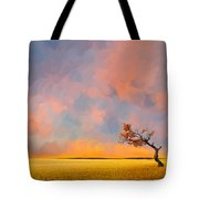 Far Away Sunset With Old Tree Tote Bag