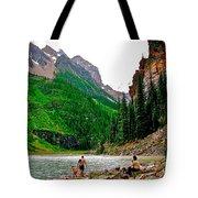 Far End Of Lake Louise In Banff Np-alberta Tote Bag