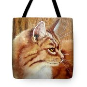 Farm Cat On Rustic Wood Tote Bag