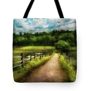 Farm - Fence - Every Journey Starts With A Path  Tote Bag