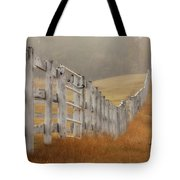 Farm Fence On Foggy Autumn Day Tote Bag