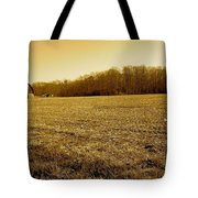 Farm Field With Old Barn In Sepia Tote Bag
