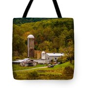 Farm View With Mountains Landscape Tote Bag