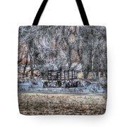 Farm Wagon Sitting In The Snow Tote Bag