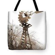 Farm Windmill In Sepia Tote Bag