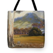 Farm With Large Gum Tree Tote Bag