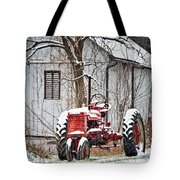Farmall Tractor In Winter Tote Bag