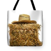 Farmer Hat On Hay Bale Tote Bag