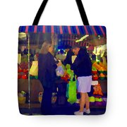 Farmers Market Bushels And Baskets Of Apples Fruit And Vegetables Food Art Scenes Carole Spandau Tote Bag