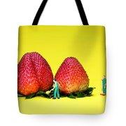 Farmers Working Around Strawberries Tote Bag