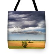 Farmhouse In The Storm Panorama Tote Bag