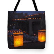 Farolitos Or Luminaria On Wall Tote Bag