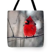 Fat Cardinal In The Snow Tote Bag