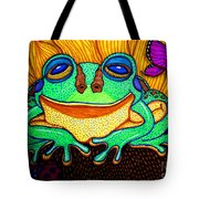 Fat Green Frog On A Sunflower Tote Bag