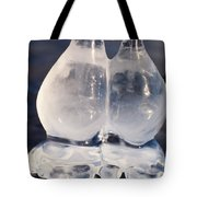 Fat Twin Icicles Over Water Surface Tote Bag