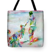 Father And Children Tote Bag