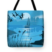 Father And Son Fishing Tote Bag