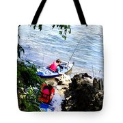 Father And Son Launching Kayaks Tote Bag