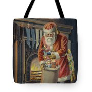 Father Christmas Filling Children's Stockings Tote Bag