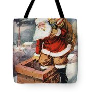 Father Christmas Popping Down The Chimney To Deliver Gifts To The Good.  Tote Bag