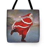 Father Christmas Skating On Duddingston Loch Tote Bag