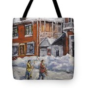 Faubourg A Melasse Montreal - Joys Of Winter By Prankearts Tote Bag