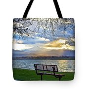 Favorite Bench And Lake View Tote Bag