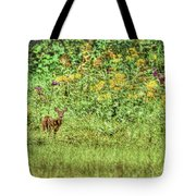 Fawn In Flowers Tote Bag
