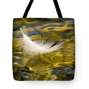 Feather On Golden Water Tote Bag