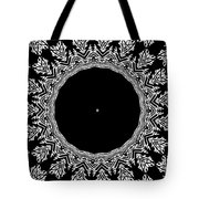 Feathers And Circles Kaleidoscope In Black And White Tote Bag